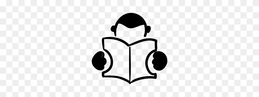 Student Reading A Book Hand Drawn Person Pngicoicns Free Icon - Person PNG Icon