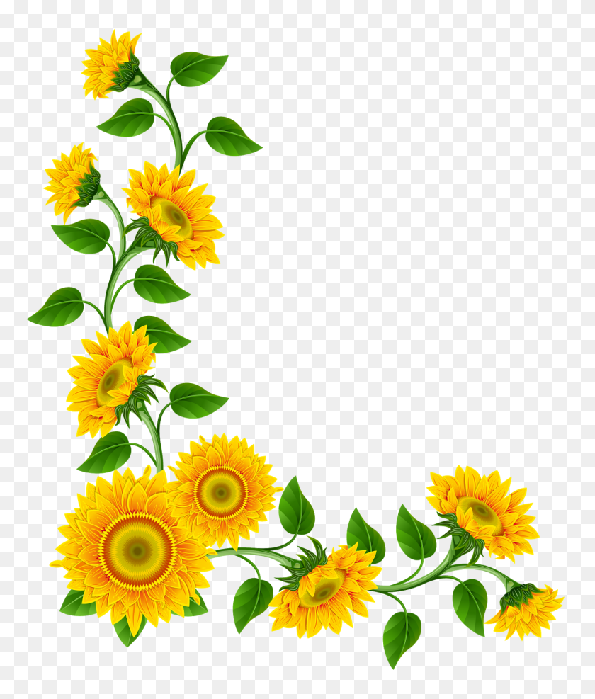 Sunflower Corner Png - Corner Designs PNG