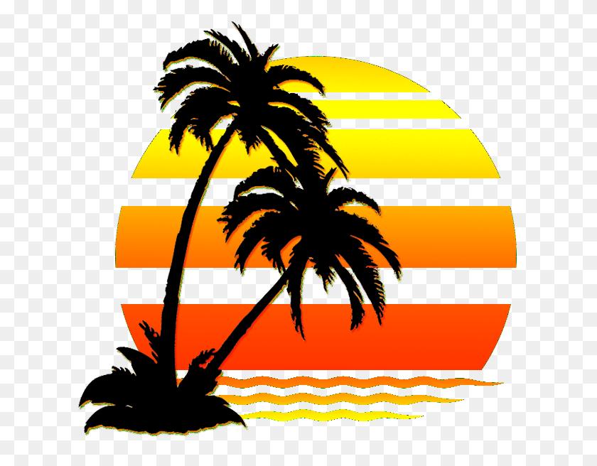 Sunset Clipart Beach Painting, Sunset Beach Painting Transparent - Palm Tree Sunset Clipart