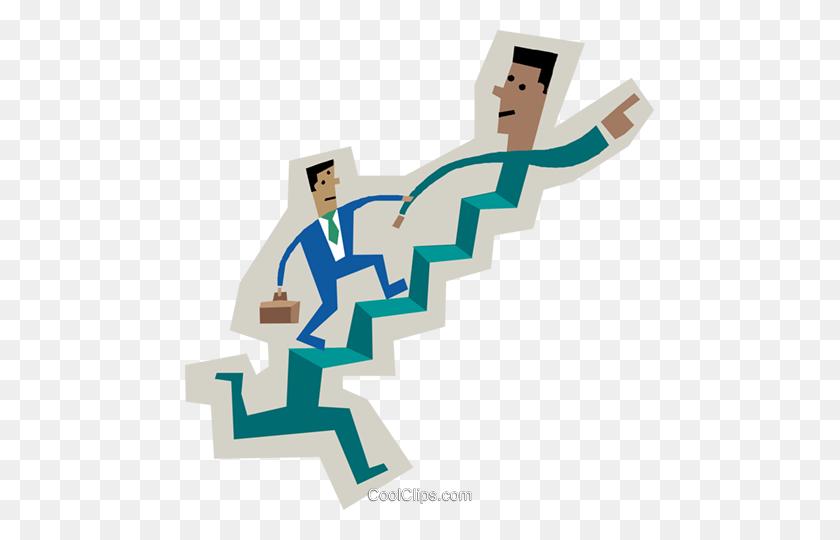 Symbol Of Men Running Up Stairs Royalty Free Vector Clip Art - Men Running Clipart
