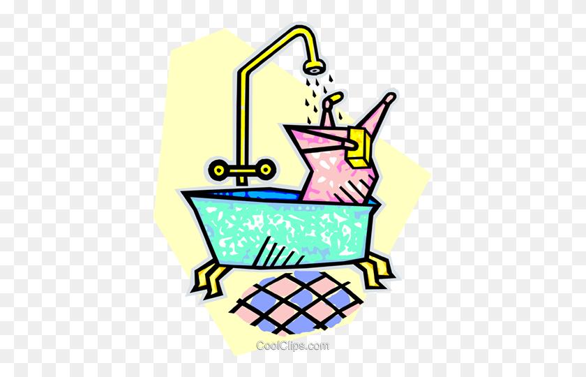 Taking A Bath Royalty Free Vector Clip Art Illustration - Taking A Bath Clipart