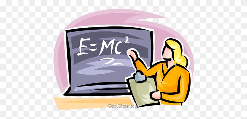 Teacher Teaching Science Royalty Free Vector Clip Art Illustration - Teacher Teaching Students Clipart