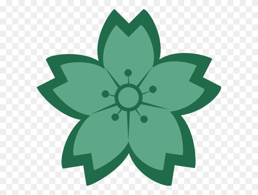 Teal Sakura Flower Teal, Flower Clipart And Clip Art - Sakura Clipart