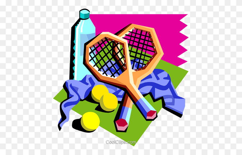 Tennis Rackets With Water Bottle, Etc Royalty Free Vector Clip - Tennis Clipart Free
