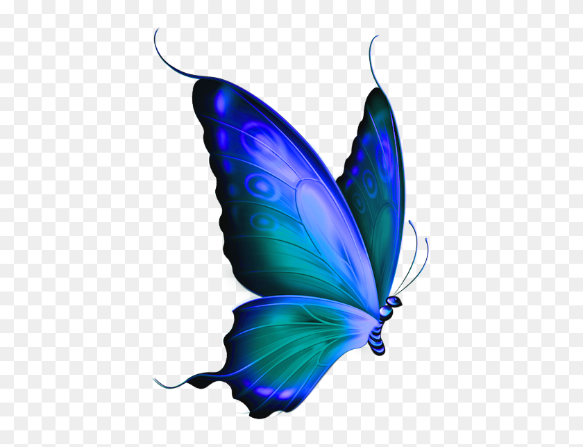 433x584 Transparent Blue And Green Deco Butterfly Clipart Art - Superfluous Clipart