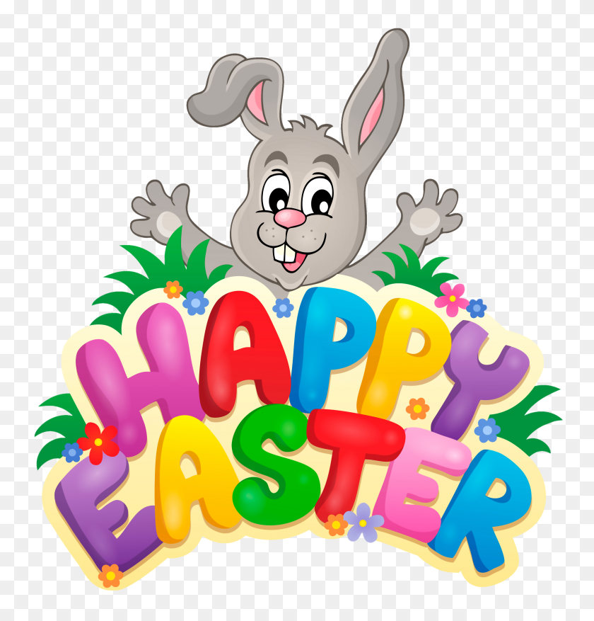 Transparent Happy Easter With Bunny Png Clipart Gallery - Photo Album Clipart