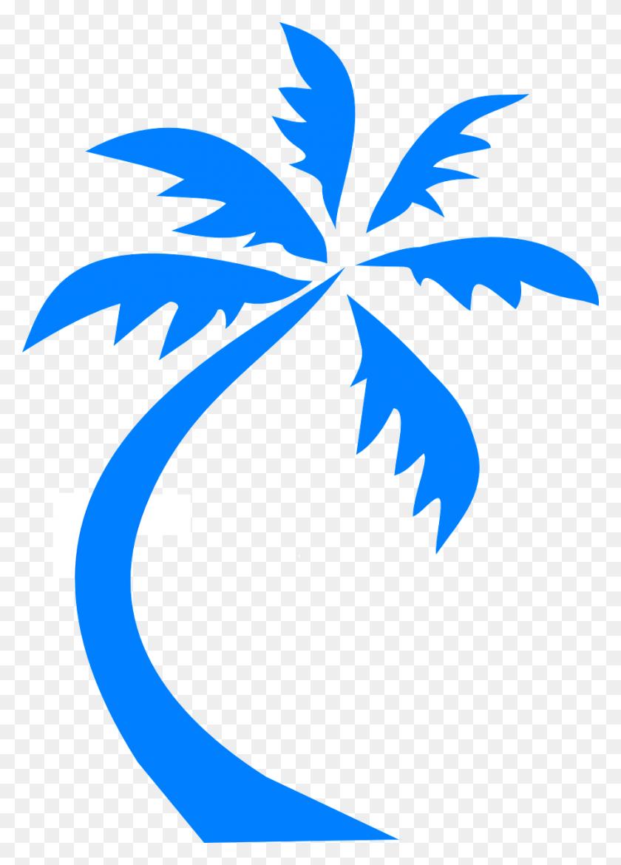 Travel, Palm Tree Palm Blue Silhouette Beach Tropi - Palm Tree Beach Clip Art