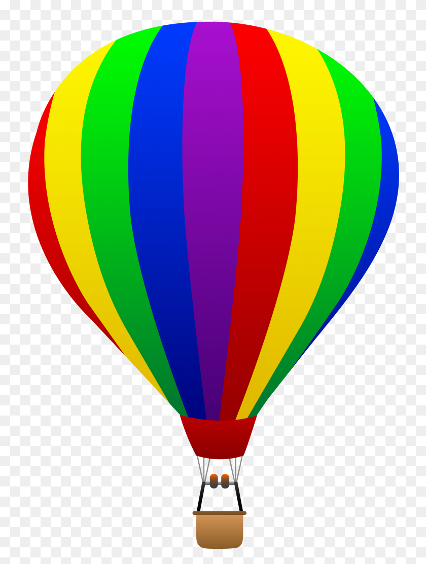 Trend Cartoon Hot Air Balloon Images Rainbow Striped Free Clip Art - Reference Clipart
