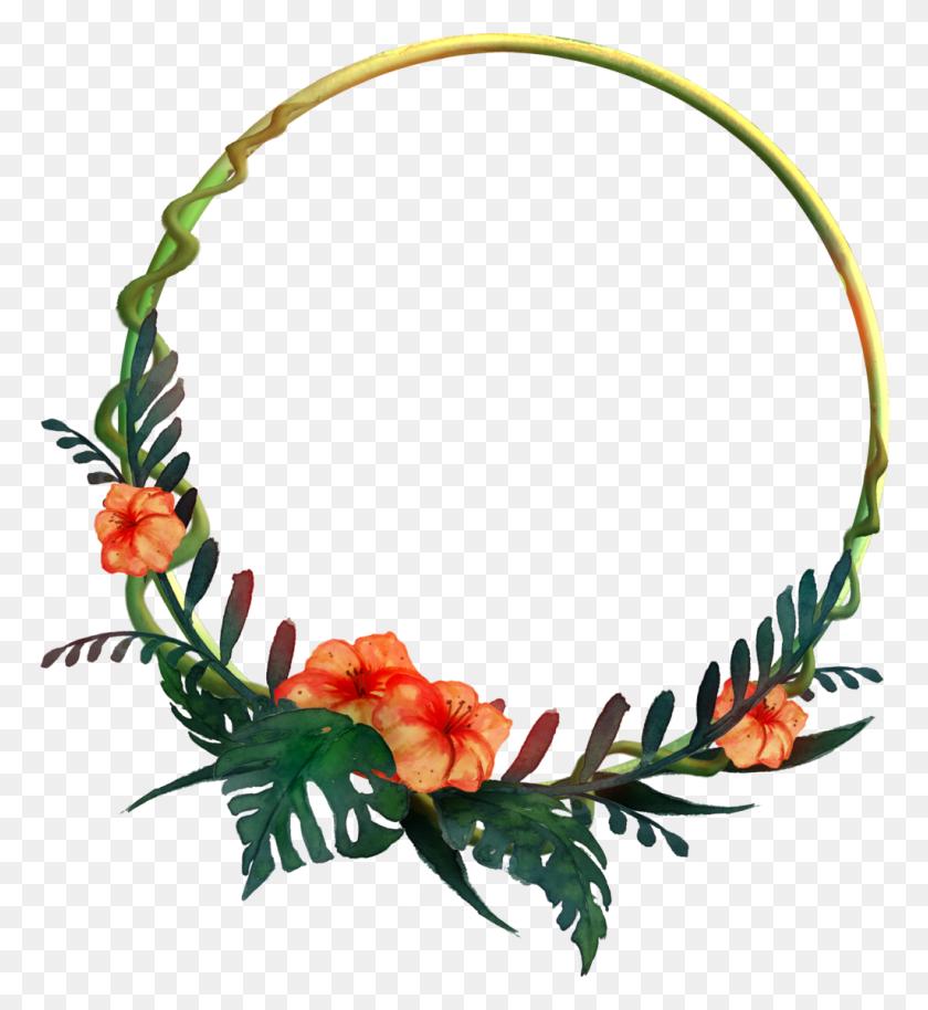 Tropical Watercolor Flower Border - Watercolor Floral PNG