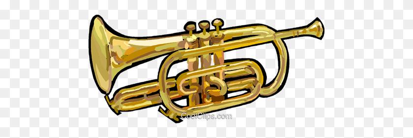 480x222 Trumpet Royalty Free Vector Clip Art Illustration - Mellophone Clipart