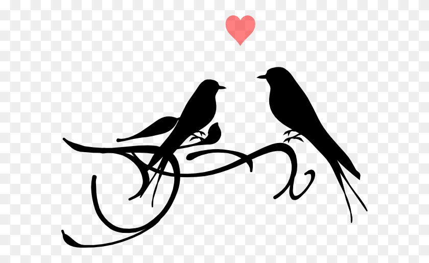 Two Birds Png Black And White Transparent Two Birds Black - Wedding Clipart Free Black And White