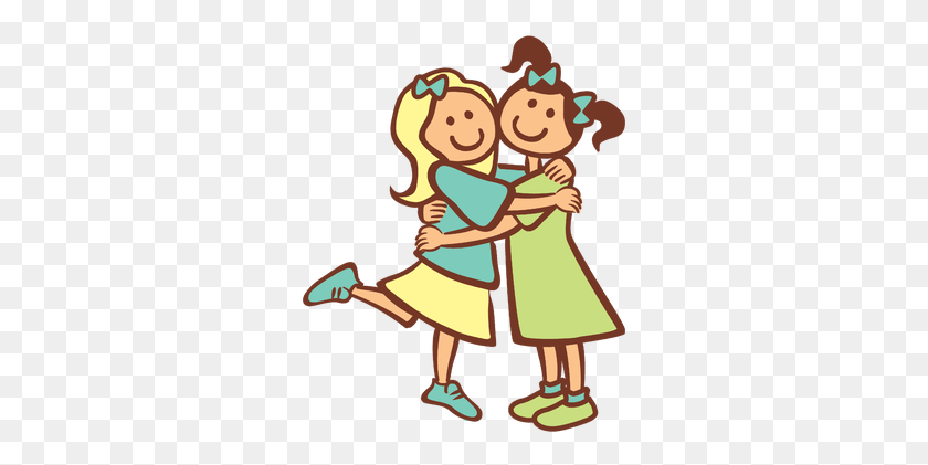 Two Friends Hugging Clipart Girls Hugging As Best Friends Chip - Older Sister Clipart