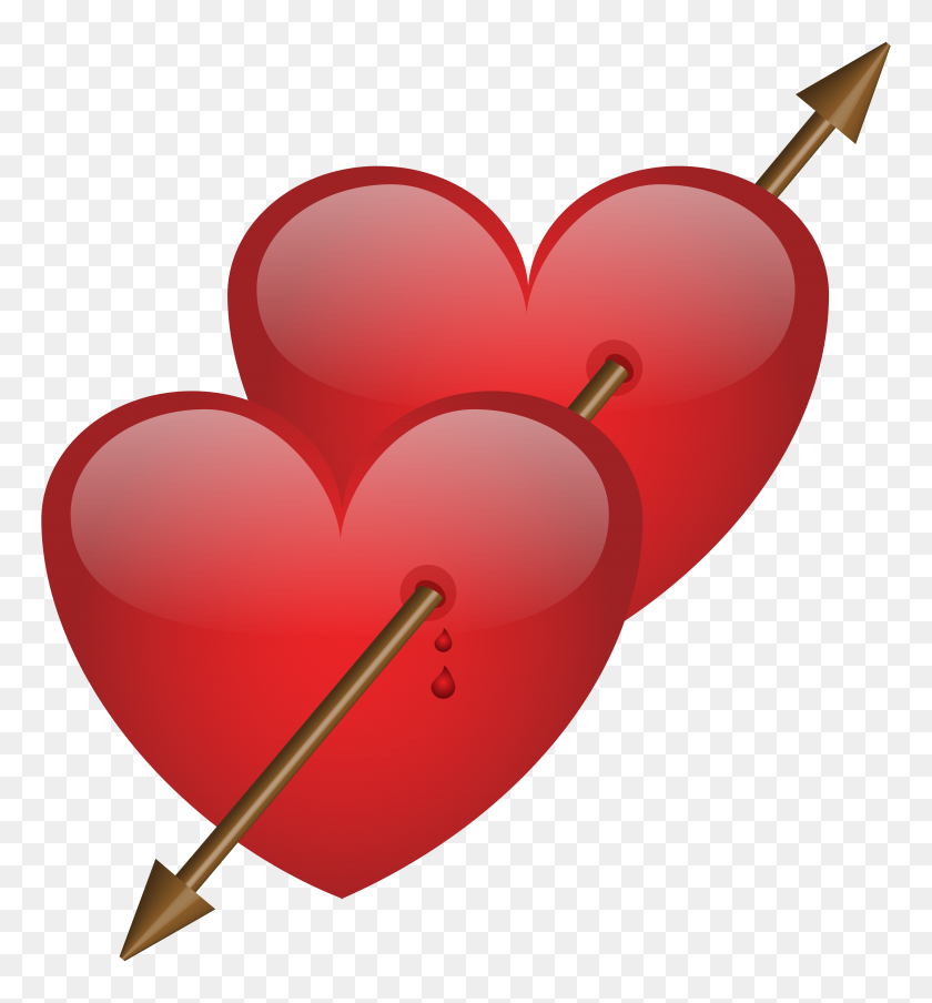 Two Hearts With Arrow Png Clip Art - Two Hearts Clipart