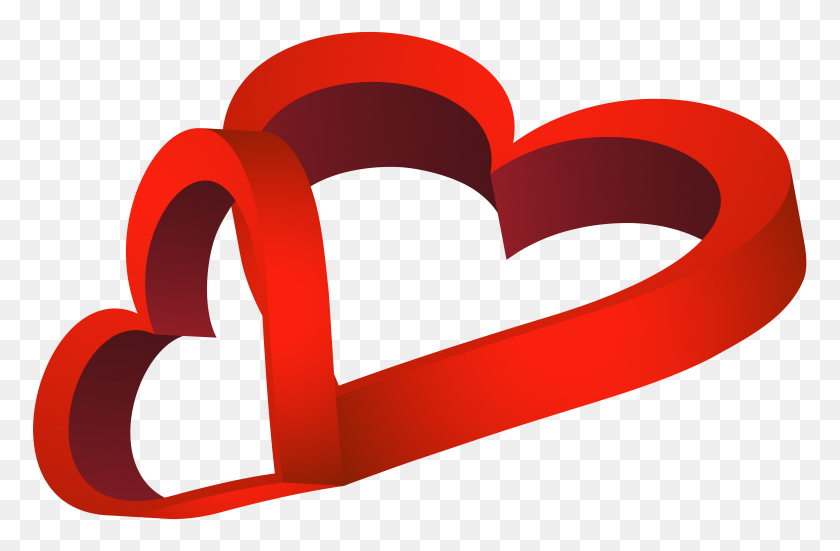 8000x5044 Two Red Hearts Png Clip Art - S Clipart