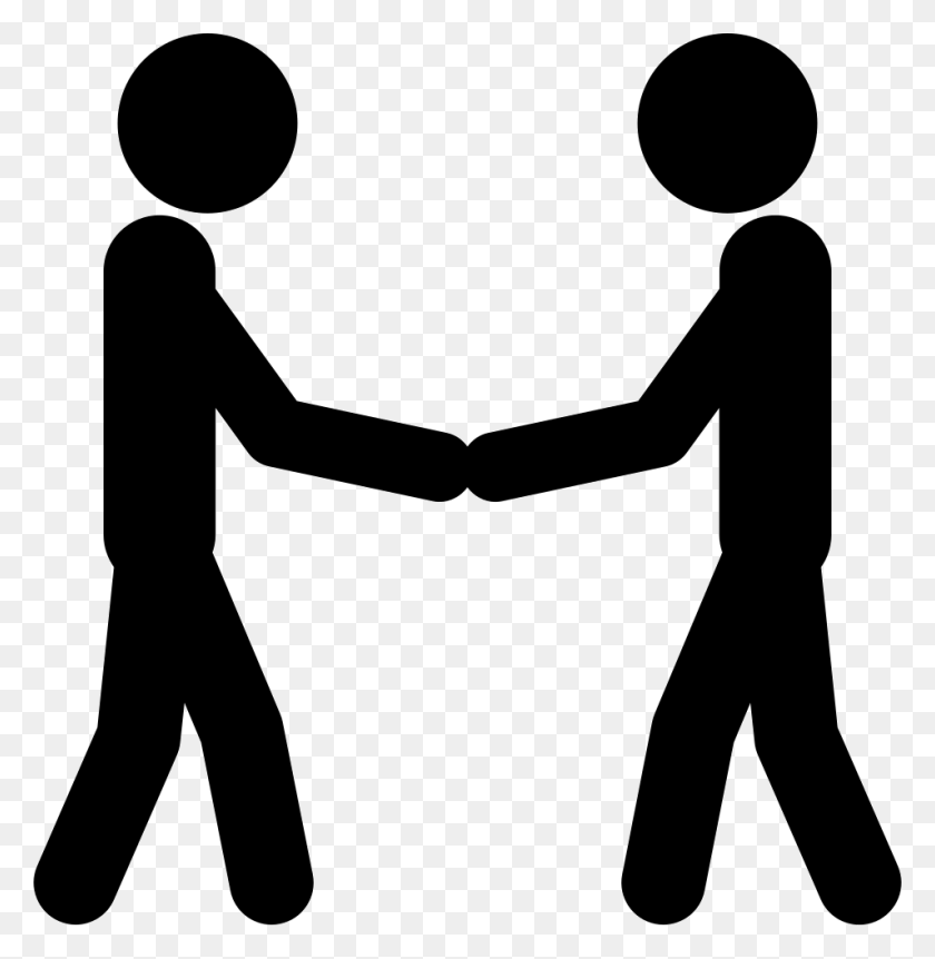 Two Stick Man Variants Shaking Hands Png Icon Free Download - Shaking Hands PNG
