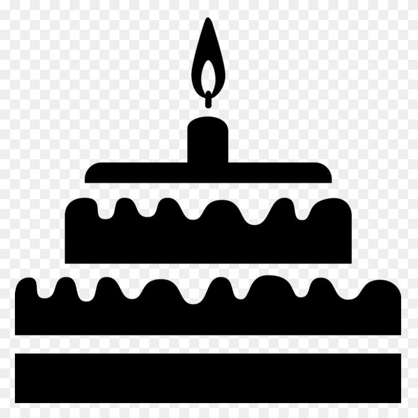 Two Tiered Cake With Candle Rubber Stamp Food Stamps Stamptopia - Tiered Cake Clipart