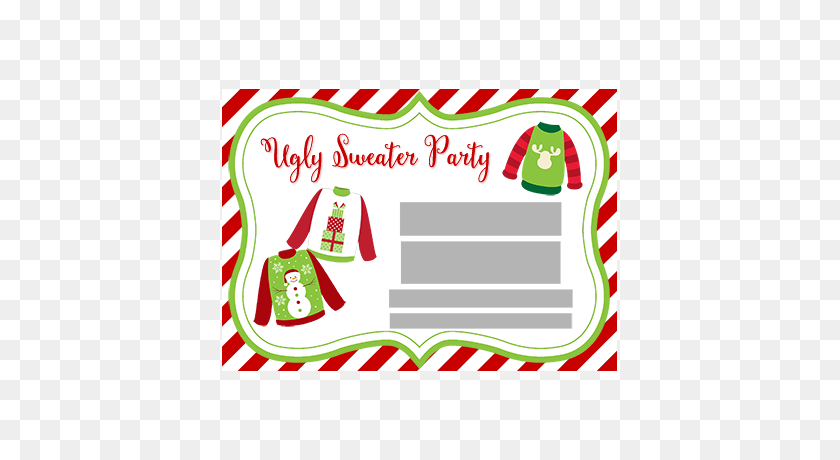 Ugly Sweater Party Invitations, Tacky Sweater Invites - Ugly Sweater Clipart