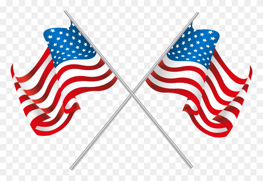 Usa Crossed Flags Png Clip Art - Usa Clipart