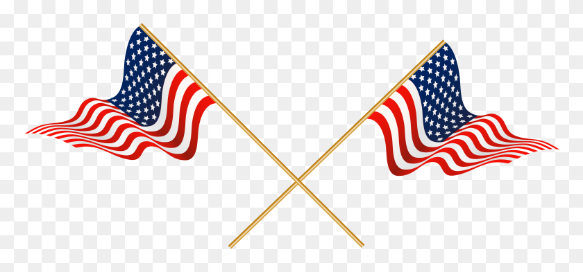 Usa Crossed Flags Transparent Png Clip - Usa Clipart