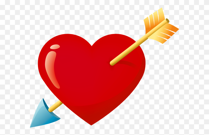 600x483 Valentine Red Heart With Arrow Png Clipart Heart - Valentines Day PNG