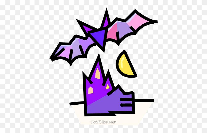 Vampire Bat With A Haunted House Royalty Free Vector Clip Art - Vampire Bat Clipart