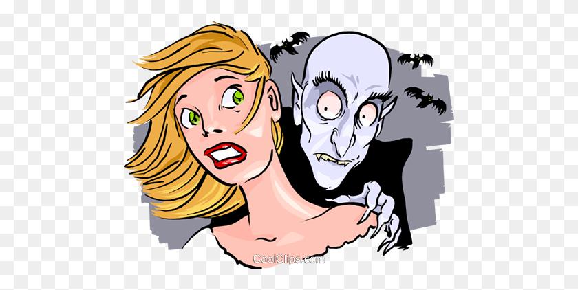 Vampire With His Victim Royalty Free Vector Clip Art Illustration - Vampire Clipart