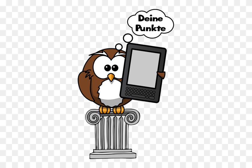 Vector Clip Art Of Owl Holding An E Reader - Mystery Clipart