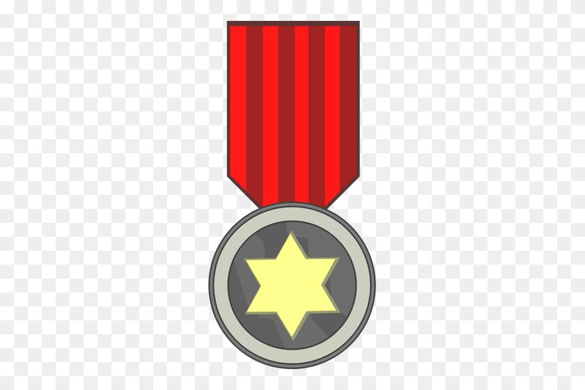 Vector Clip Art Of Star Award Medal On Red Ribbon - Longer Clipart