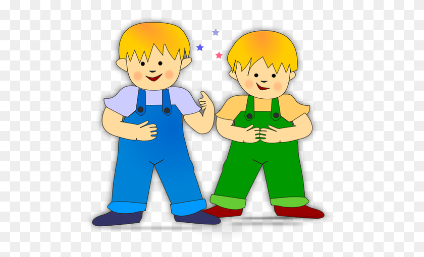 Vector Clip Art Of Twin Brothers Children - Twins Clipart