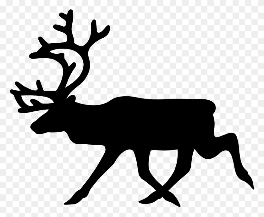Vector Clipart Reindeer - Deer Silhouette PNG