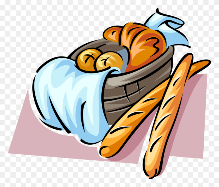 832x700 Vector Illustration Of Fresh Baked French Baguette - Bread Basket Clipart