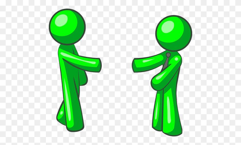 Vector Illustration Of Green Figures Shaking Hands - People Shaking Hands Clipart