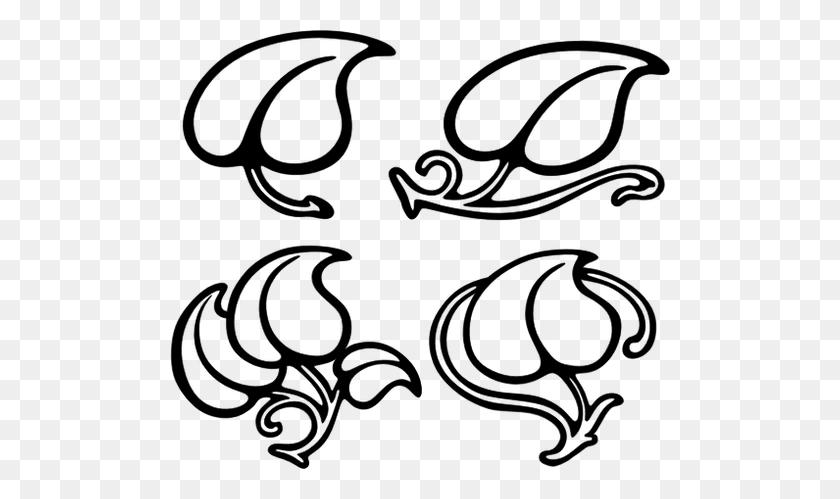 Vector Image Of Four Leaf Designs - Four Leaf Clover Clip Art Black And White