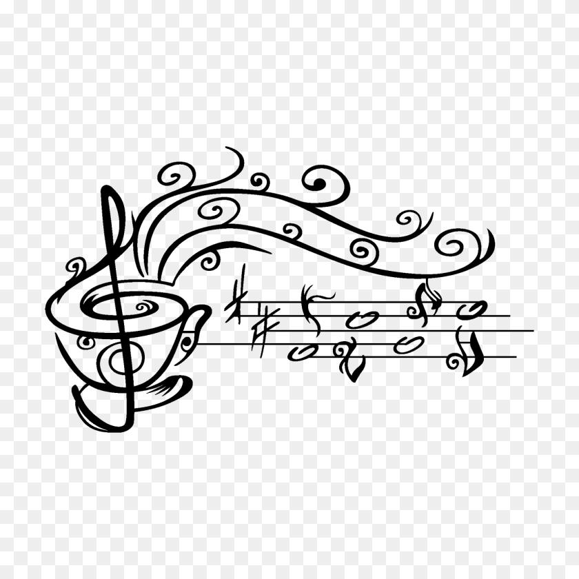 Vinilo Taza De Con Notas Musicales Cameo - Notas Musicales PNG