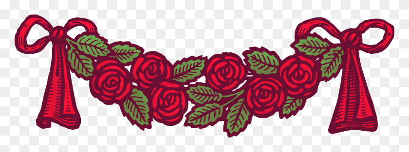 Vintage Red Roses With Ribbons Banner - Ribbon Banner Clipart