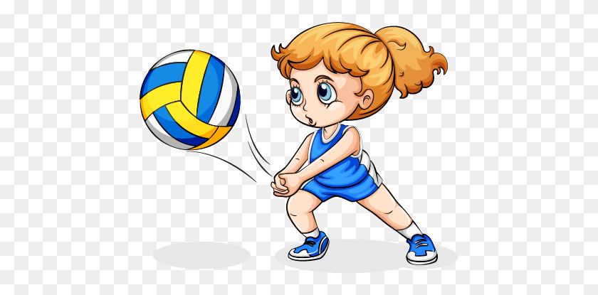 Volleyball Play Girl Clip Art - Playing Volleyball Clipart