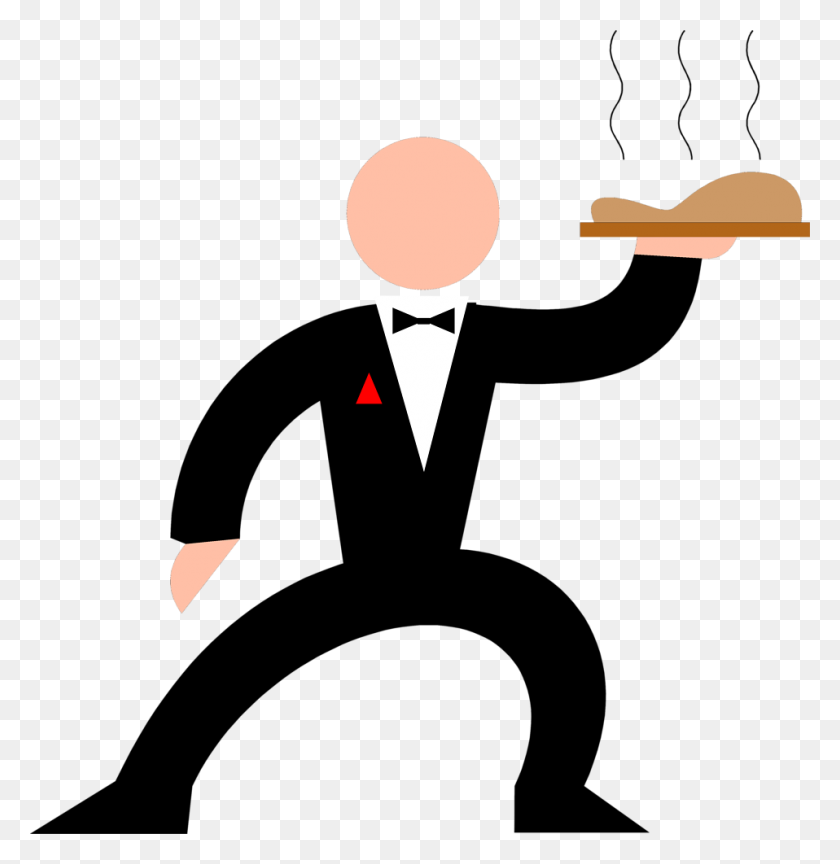 958x988 Waitress Holding Food Tray Clipart - Lunch Tray Clipart