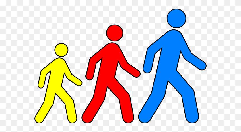 Walking Man Colors Png Large Size - Kids Walking PNG