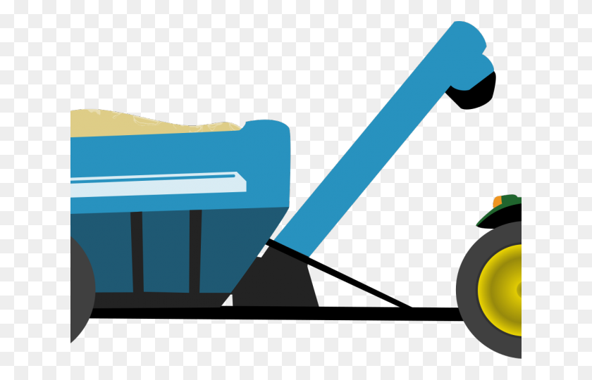 Watercolor Clipart Tractor - Tractor With Trailer Clipart