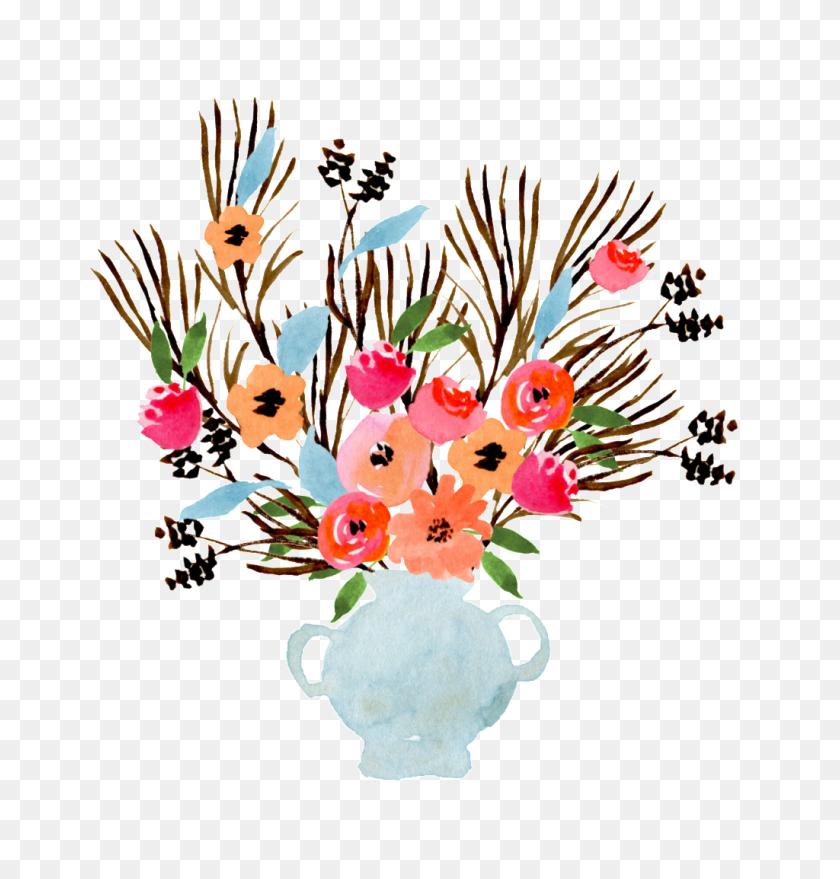 Watercolor Vase Decoration Vector Free Png Download Png Vector - Flower Vase PNG