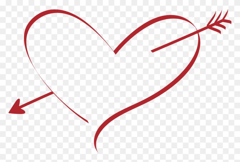Wedding, Heart Love Wedding Amor Arrow Red Pierced - Rustic Arrow PNG