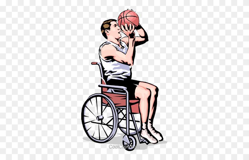 Wheelchair Basketball Player Shooting Royalty Free Vector Clip Art - Cool Basketball Clipart