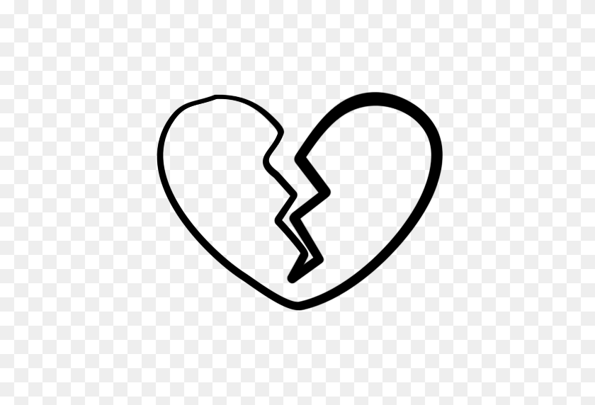 512x512 White Clipart Broken Heart - Sad Clipart Black And White