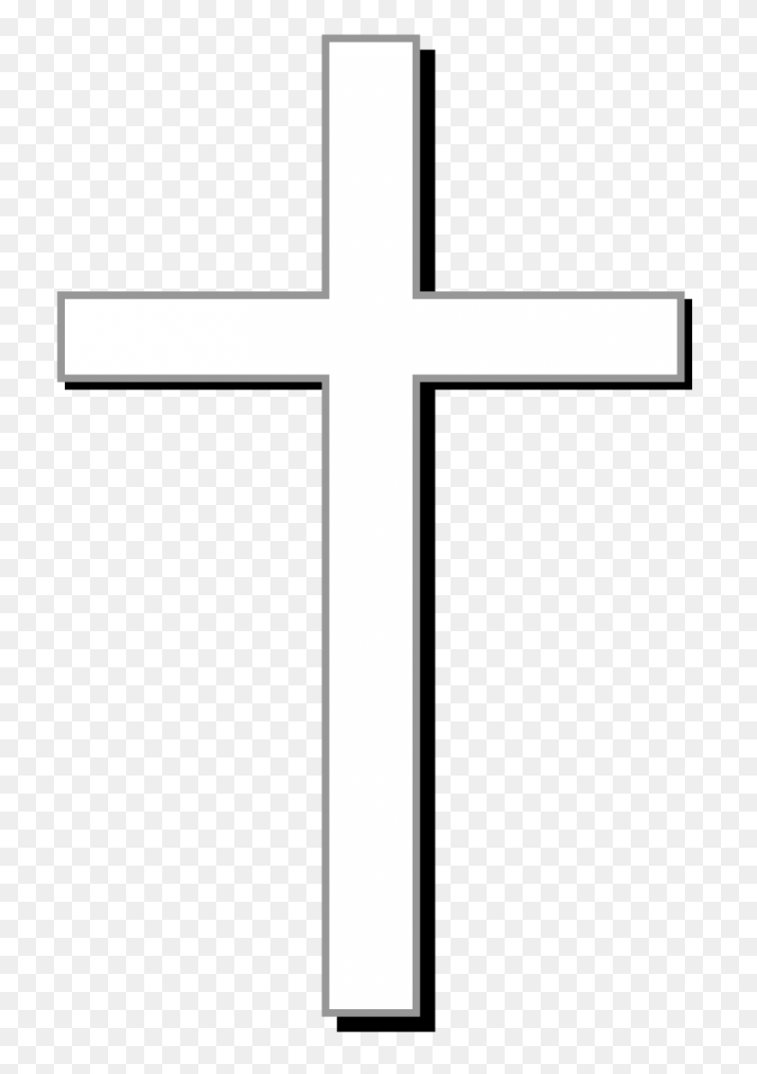 White Cross W Gray Outline, Black Shadow, And Light Gray - Rustic Cross Clipart