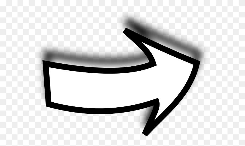 600x442 White Curvy Arrow Inverted Clip Art - Arrow PNG White