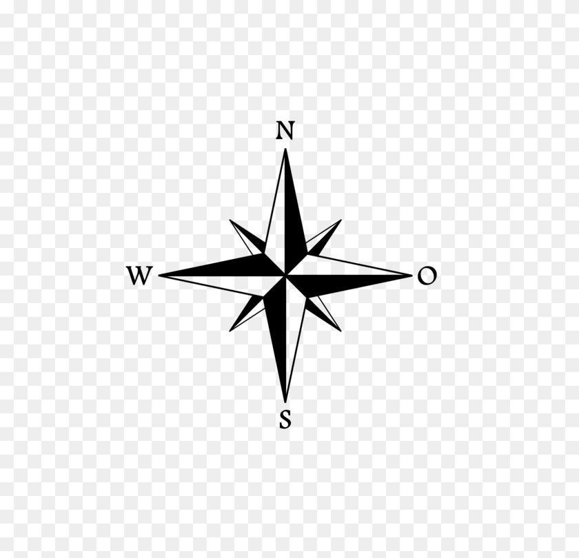 Wind Rose Compass Rose Cardinal Direction - Simple Compass Clipart