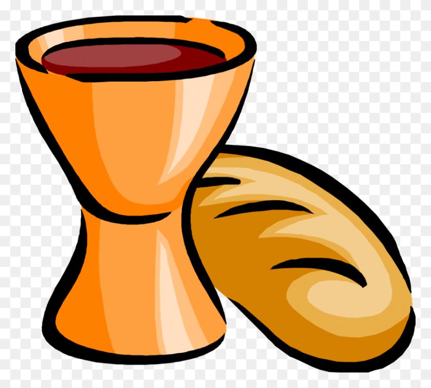 840x750 Wine White Bread Eucharist Sacramental Bread - Sacrament Clipart
