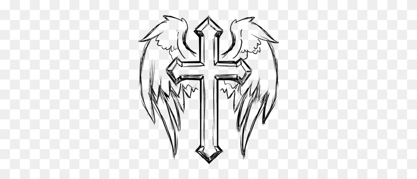 Cross With Wings Clipart - Wings On A Cross - Free Transparent PNG Clipart  Images Download