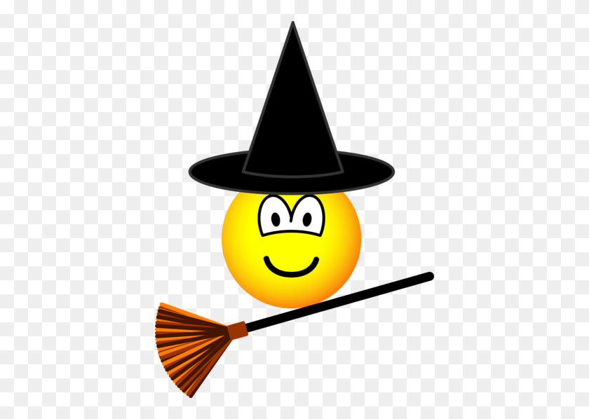 Witch Flying Emoticon Broomstick Emoticons Smileys - Broomstick Clipart