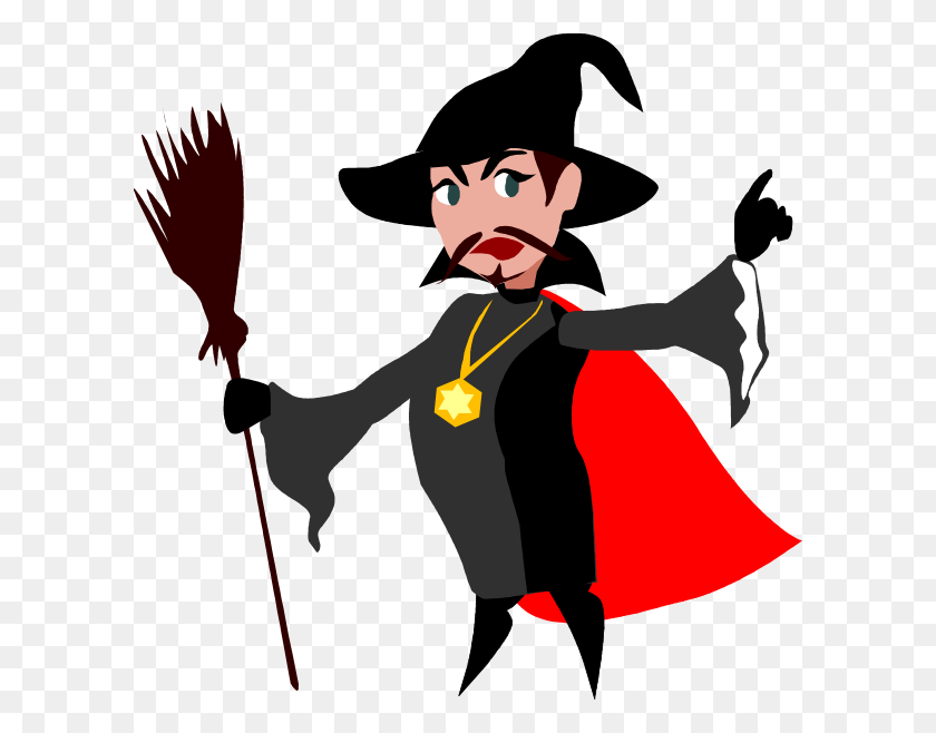Witch With Broomstick Clip Art - Broomstick Clipart